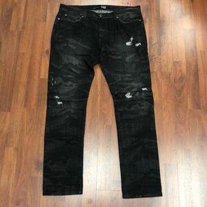 Black camo distressed jeans  (Local CA brand)